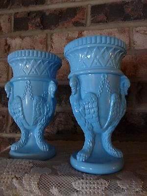 Edward Moore & Co. 19c Pair - BLUE OPAQUE Milk GLASS Hanging Ducks Birds VASES