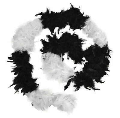 2 Meter Black & White Feather Boa - Burlesque 1920's Hen Night Fancy Dress