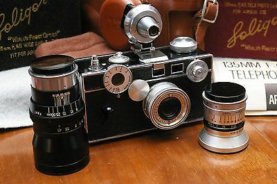 TESTED&GUARANTEED Exc++ Argus C3 w/ Mint+ Soligor 35 & 135 and Leica 35to135 VF!