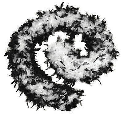 Black And White Feather Moll Boa 80 Grams hen Night Stag 1920's  Fancy Dress