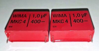 2X NOS GENUINE WIMA MKC4 1000nF 1uF 400V 27.5mm HQ GREAT TUBE AMP AUDIO CAPS!