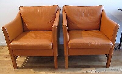 PAIR TAKASHI OKAMURA LEATHER EASY CHAIRS borge mogensen danish modern