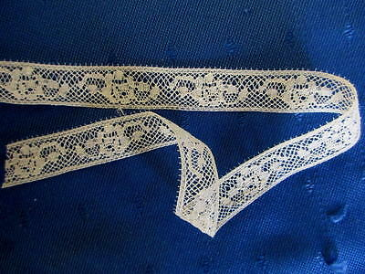 Antique 6 Yard Length Of Fine Cotton Insertion Lace~Made In France~Roses