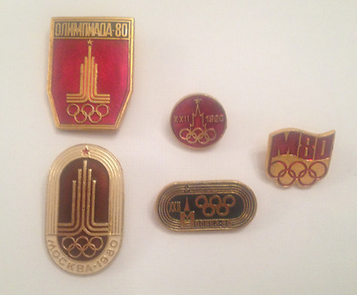 Olympics Moscow 5 Pin Set 1980 Vintage Badge USSR Communist Russia Pins Rare