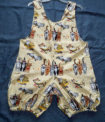 """ADULT BABY 44"""" Cotton Sleeveless Romper, w/ Cool Cats, By  KT"""