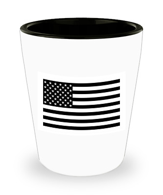 Black American Flag Shot Glass 1.5 oz Custom Printed Collectible Gift