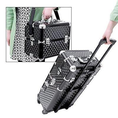 Large Nail Art Make Up Beauty Case Cart Trolley Suitcase Box Wheels Handle Black