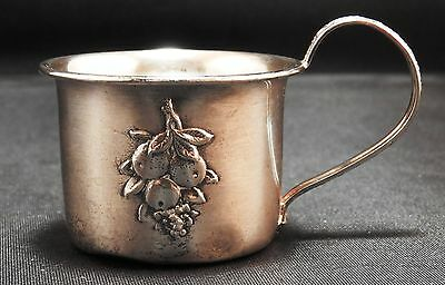 Vintage Sterling Silver Small Cup with Embossed Fruit  16.8 grams + or -