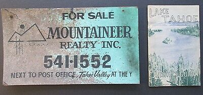 Authentic Vintage Lake Tahoe Real Estate Sign & Early Real Estate Papmhlet