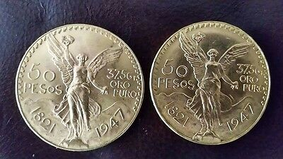 lot of 2 mexican 50 pesos gold coins