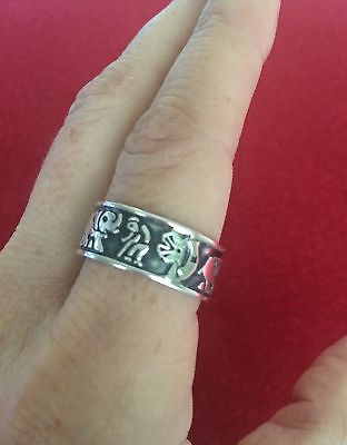 Sterling Silver 925 Lucky Charm Symbols Band Ring Taxco Mx Unisex Size 9.5
