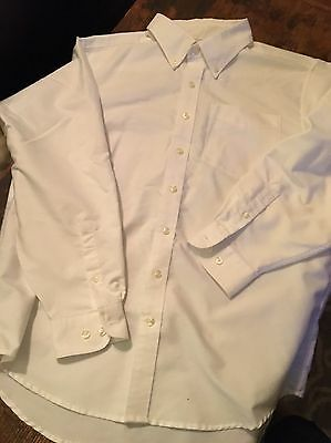Boys 16 Husky Land's End White Dress Shirt  Button Up Perfect Condition