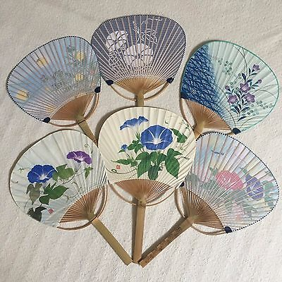 Japanese Traditional Handy Uchiwa Fan Bamboo Paper Lot of 6 set Flower design