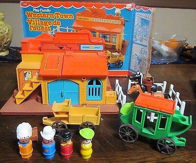 Vintage Fisher Price Little People Play Family Western Town #934 COMPLETE w/BOX