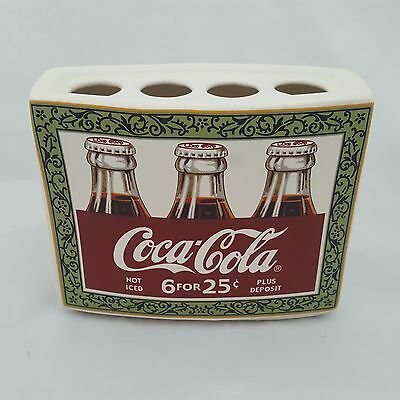 Coca-Cola Toothbrush Holder Ceramic Holds 4 Toothbrushes Collectible Coca Cola