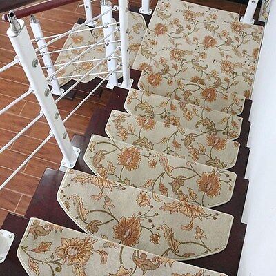 Stair Mat Durable Arc Flower Stair Treads Carpet House Anti-Slip Step Rug 1PC