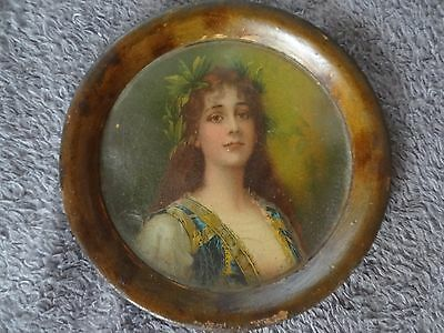 1890s Antique VICTORIAN BEAUTY Advertising Metal Litho Sign Tip Change Tray