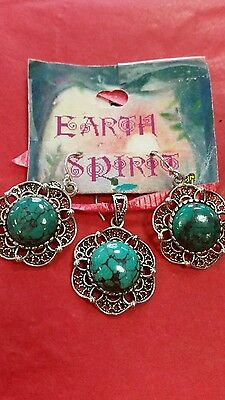 Turquoise and sterlingsilver pendant and earrings