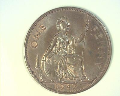Great Britain 1947 Penny Km845 Choice Uncirculated  63Brn~Ma54