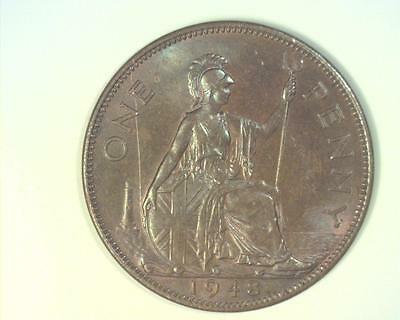 Great Britain 1948 Penny Km845 Choice Uncirculated  63Brn~Ma55