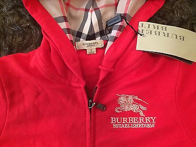 Burberry London Boys Or Girls Kids Red Zip Jacket, New With Tags (UK Size 8)