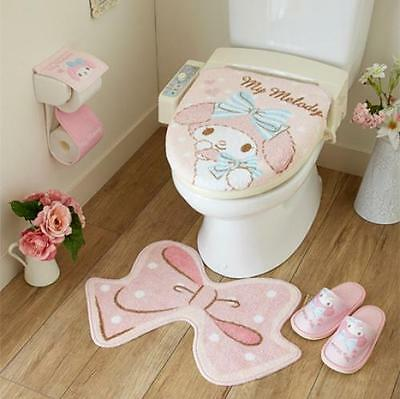 SANRIO My Melody Toilet Cover &  Mat & Slipper & Paper Holder 4-piece F/S