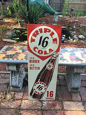 Vintage Original Triple Cola 16 Oz Embossed Sign