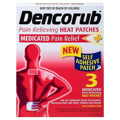 ~ Dencorub Medicated Pain Relief Self Adhesive Heat Patch 3 Pack For Aches Pains