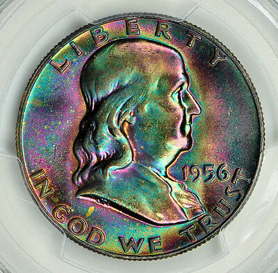 1956 Franklin Half Dollar - PCGS MS66FBL - Super Monster Rainbow Toned