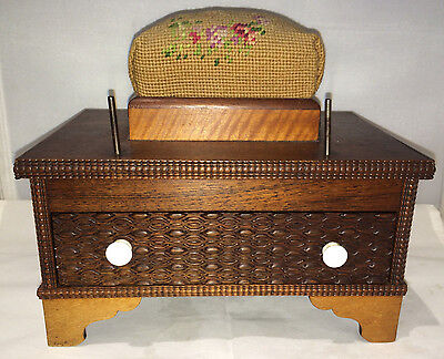 19th Cent Sewing Caddy Pin Cushion Dove Tailed Drawer Burled Walnut Tiger Maple