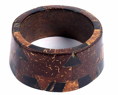Vintage Jewelry Indian Stylist Wood Bangle Beautiful Mosaic Inlay Bracelet.i8-12