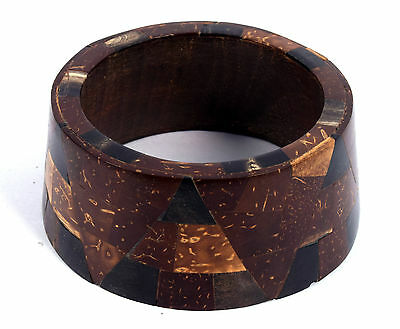 Vintage Jewelry Indian Wood Bangle Boho Beautiful Mosaic Inlay Bracelet. i8-20