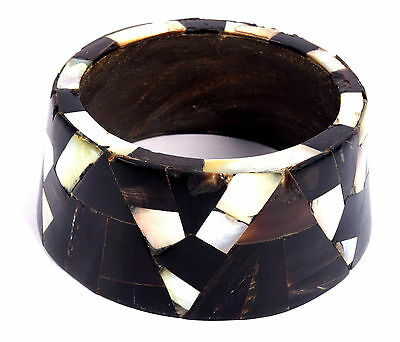 Indian Wood Bangle Beautiful Mosaic Bone Mother Of Pearl Inlay Bracelet. i8-25