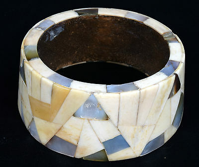 Indian Wood Bangle Beautiful Mosaic Bone Mother Of Pearl Inlay Bracelet. i8-5