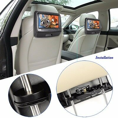 "9""  Screen Button Car Headrest  DVD Player Monitor With USB/HDMI/IR/FM/Game"