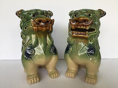 "Vtg Ceramic Chinese Style Foo Dogs Sculptures Set of Two Green Blue Brown 9"" H"