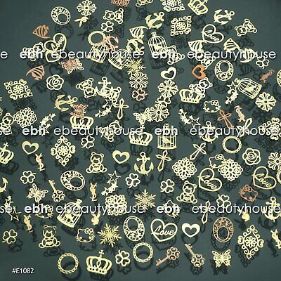 300 Pcs 3D Metal DIY Nail Art Tips Stickers Decal Golden Slices Decoration E1082