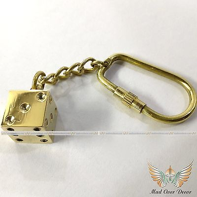 Vintage Collectible Solid Brass Key Chain Die Dice Key Chain Unique Design Gift