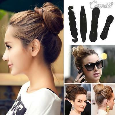 4PCS Magic Sponge Clip Foam Donut Hair Styling Bun Curler Maker Ring Twist Tool