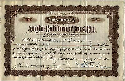 Anglo-California Trust Co. Stock Certificate San Francisco