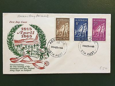 Anzac Day 1965 First Day Cover FDC, Unaddressed