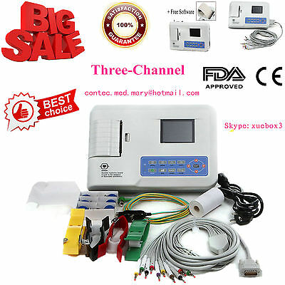 2018 CE FDA CONTEC Digital 3 Channel ECG Machine,Electrocardiograph SYNC SW,300G
