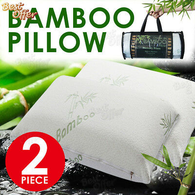 Bamboo Pillow Firm Memory Foam Fabric Fibre Cover 70 x 40cm Optional Set of 2