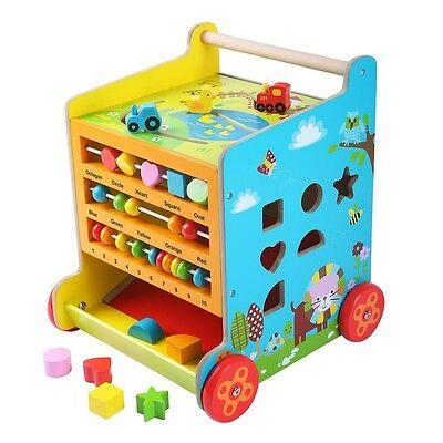 Baby Wooden Walker Wood Activity Toy 6 In 1 Cube Walker Learning Kids Toddler