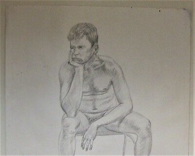 Original David Aldus probably pastel pencil drawing of a nude man male