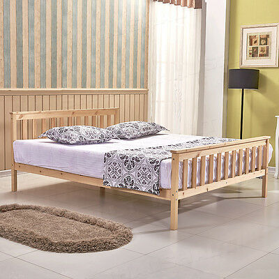 New 4FT6 Double Wooden Bed Solid Wood Pine Bed Frame w/ Slats Headboard Bedroom
