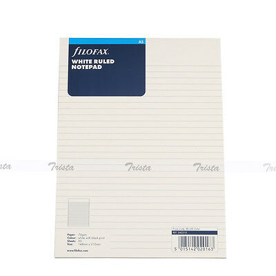 Filofax Book A5 Organiser White Ruled Notepad Refill Insert Accessory 342210
