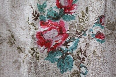 PRETTIEST PAIR 1950s VINTAGE COTTON BARKCLOTH RASPBERRY ROSES CURTAINS