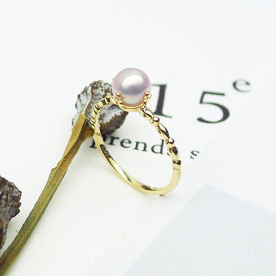 6-6.5MM White Genuine Japanese Akoya Cultured Pearl Ring 14K Solid Yellow Gold