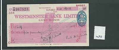 wbc. - CHEQUE - CH1297- USED -1946- WESTMINSTER BANK, ILFORD, ESSEX.